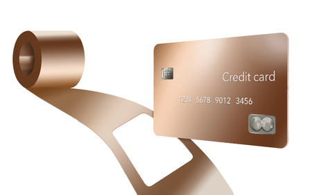 A copper metal credit card is seen with a coil of sheet copper and you can see where the card has been punched out of the coil. It is an illustration. It illustrates metal credit cards.