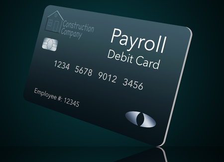 Here is a payroll debit card. It is a pre-paid debit card used to pay employees their payroll wages. It is and illustration. Stock fotó
