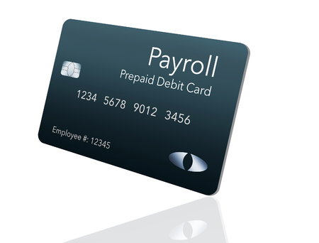 Here is a payroll debit card. It is a pre-paid debit card used to pay employees their payroll wages. It is and illustration. Imagens