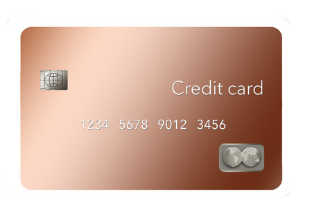 A copper metal credit card is seen in this illustration. It illustrates metal credit cards.