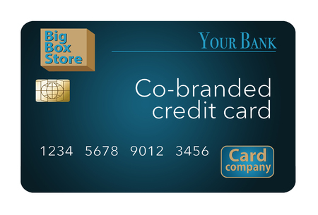 A Co-Branded credit card that is a mock card is shown here. A big box store, a bank and a credit card company teamed up to issue this mock card. It is an illustration.