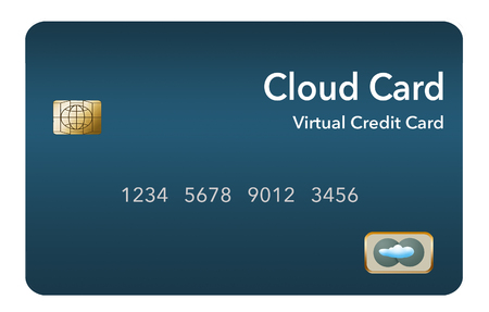 Virtual credit card is also known as a cloud card or digital credit card. It is shown isolated on background. This is an illustration.