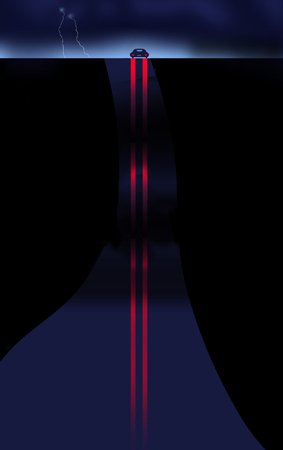 Here is an illustration showing a tail lights of a car reflected on a wet hilly road at night during a storm with lightning.