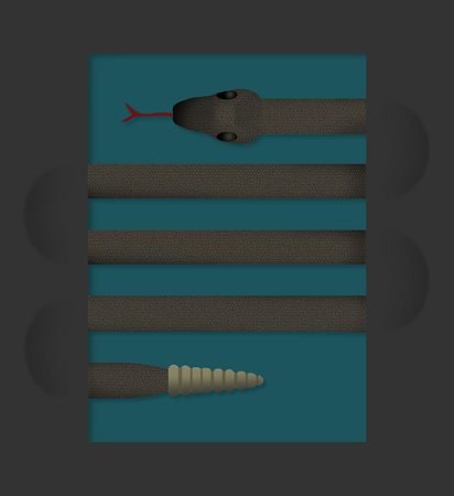 A snake looks like lines on a page in this interesting look at serpents. This is a color illustration.