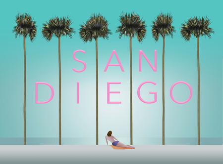 Tall palm trees and a sunbather on a white sand beach set the scene for the vacation destination San Diego. This is an illustration. Stock Photo
