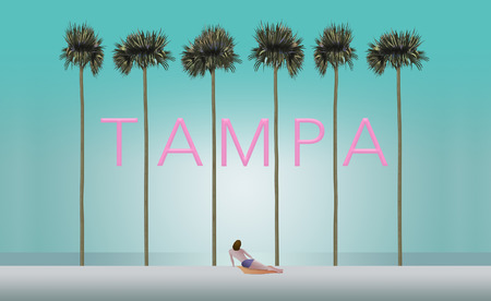 Tall palm trees and a sunbather on a white sand beach set the scene for the vacation destination Tampa. This is an illustration.