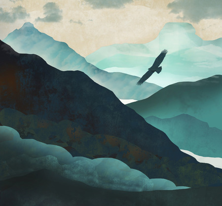 An eagle soars above a blue green valley in the mountains in this fantasy illustration. Фото со стока
