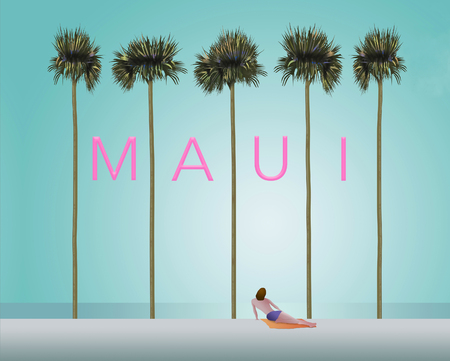 Tall palm trees and a sunbather on a white sand beach set the scene for the vacation destination Maui. This is an illustration.