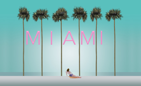 Tall palm trees and a sunbather on a white sand beach set the scene for the vacation destination Miami. This is an illustration.