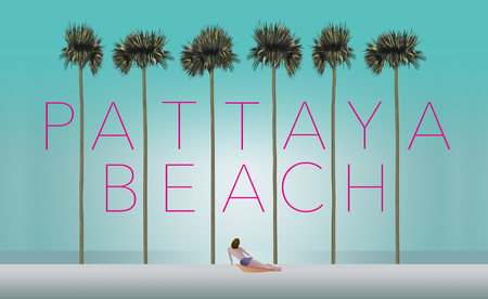 Tall palm trees and a sunbather on a white sand beach set the scene for the vacation destination Pattaya Beach, Thailand. This is an illustration.