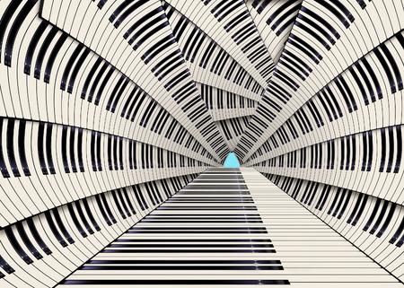 Les touches du piano vues d'une manière inhabituelle font une conception graphique dans cette illustration en couleur. Les touches noires ont un soupçon de bleu et les touches blanches sont de couleur blanc cassé.