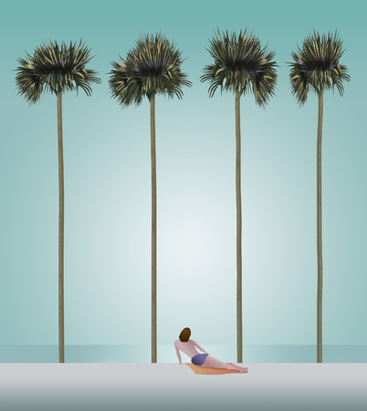 A person is seen on a white sand beach with very tall slender palm trees and the ocean in the background. This is an illustration.
