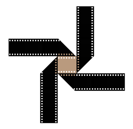 35mm film is seen in an interesting shape to be used to illustrate the idea of motion pictures, cinema, movie. This is an illustration. Imagens