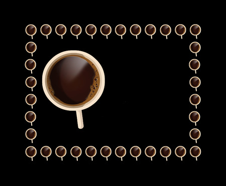 Hot coffee in a white mug is seen from above. This is an illustration. Banque d'images - 112190961