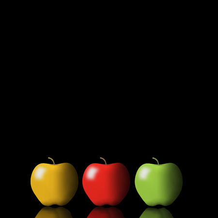 Apples are the subject of this 3-D illustration that includes brilliant colors and dramatic lighting. This is an illustration.