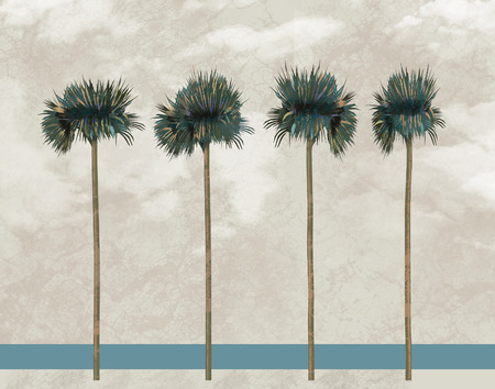 Here is a view of a tropical beach with palm trees. This is an illustration.