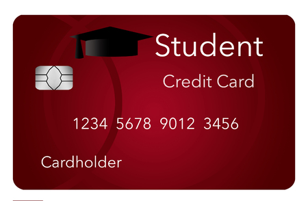Here is a mock, generic student credit card isolated on a white background. Stock Photo