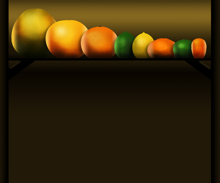 Eight popular citrus fruits are pictured left to right: pomelo, grapefruit, orange, lime, lemon, tangerine, key lime and kumquat. This is an illustration. Stock Photo