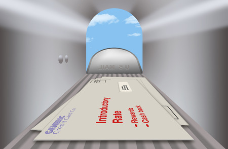 Credit card offers and promotions in envelopes are seen from the inside of a mailbox looking outward. A close up, wide angle view in this illustration.