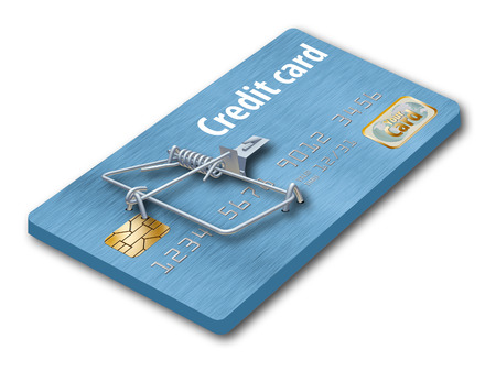 A credit card that looks like a mousetrap is seen here to illustrate the idea of credit traps, bad deals on credit cards that keep you paying. Stock fotó - 112485986