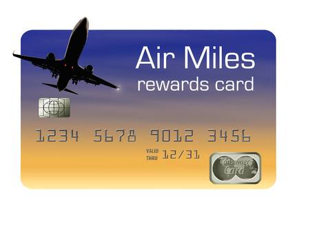 Here is an air miles reward credit card for frequent fliers and travelers. Card offers air rewards, miles, points and perks. Stock Photo