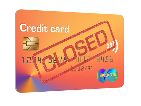 Here is a credit card that has been canceled and closed to illustrate the idea and problems of closing a credit card account. Stok Fotoğraf - 112485992
