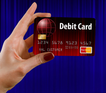 Here is a generic mock bank debit card isolated on the background. 스톡 콘텐츠