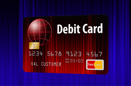 Here is a generic mock bank debit card isolated on the background. Stock Photo