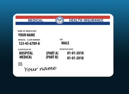 Here is a mock federal government Medicare Health Insurance card isolated on the background.