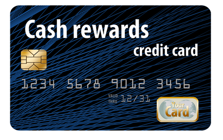 Here is a case rewards credit card that is a mock card isolated on the white background.