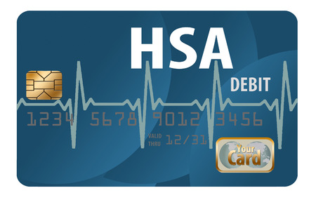 A Health Savings Account debit card is pictured here.  HSA, health savings account, spending, healthcare, medical, insurance, isolated, black, white, mock, generic, illustration
