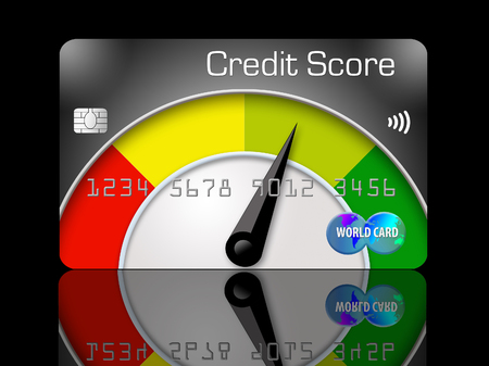 Credit score meters illustrate that credit scores vary from agency to agency which report differing credit scores. 版權商用圖片