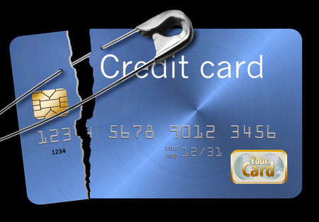 A damaged and mended credit card illustrates repairing your damaged credit rating.