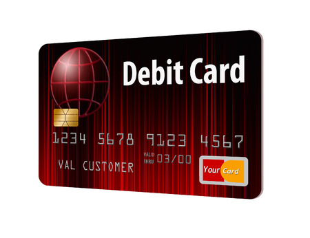 Here is a generic mock bank debit card isolated on the background. Фото со стока