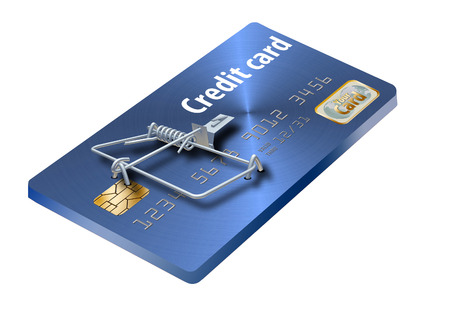 A credit card that looks like a mousetrap is seen here to illustrate the idea of credit traps, bad deals on credit cards that keep you paying.