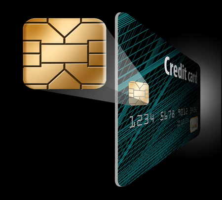 An EMV chip that looks like a padlock is locked to a credit card to illustrate how the chip provides card security.