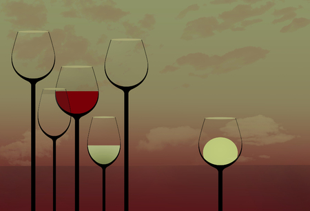 This is an illustration showing stemware, very tall wine glasses in an elegant composition. This is an illustration. Stockfoto