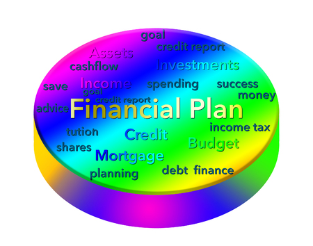 Making a financial plan is illustrated with a colorful display of related words (text). This is an illustration. Stok Fotoğraf