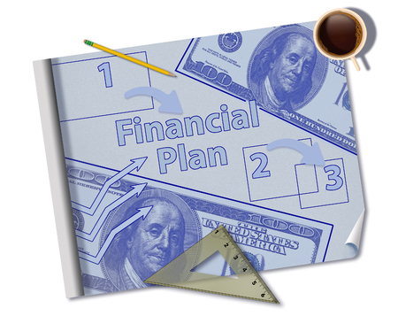 Making a financial plan is illustrated with a mock blueprint of a financial plan with coffee, ruler, pencil and notes. This is an illustration.