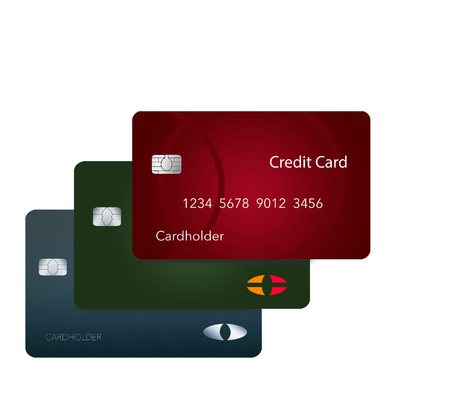 Three credit cards cast their shadow in this 3-D illustration of cards hovering over a white surface making a dramatic view of ordinary cards.