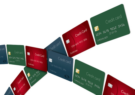 Lines of credit cards arc across the page leaving an area for text or graphic elements. This is an illustration.