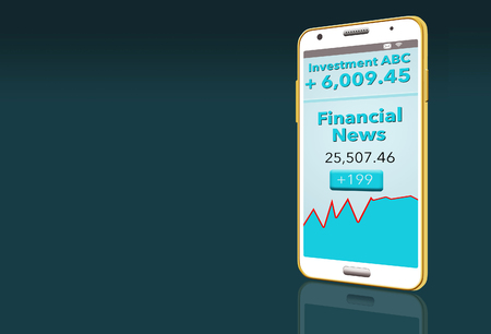 Financial news with stock market report is seen on two cell phones in this illustration about choosing a financial news app. This is an illustration.