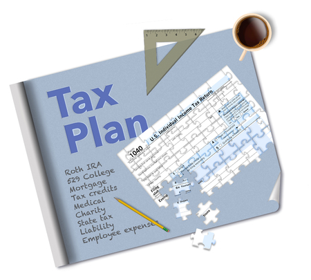 A blueprint and a tax form 1040 that is a jigsaw puzzle make this illustration about income tax planning. This is an illustration.