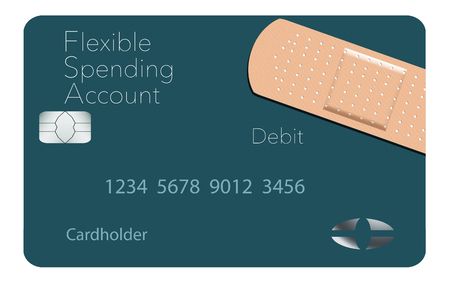 Here is a Flexible Spending Account medical insurance debit card in a modern design and is decorated with an adhesive bandaid to go with the medical spending theme. This is an illustration. Standard-Bild - 115951456