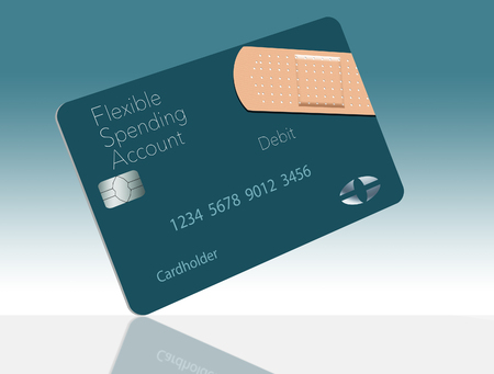 Here is a Flexible Spending Account medical insurance debit card in a modern design and is decorated with an adhesive bandaid to go with the medical spending theme. This is an illustration. Imagens
