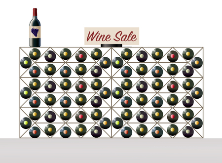 Wine bottles are seen in a wine rack and a wine sale sign is on the rack. Theme is how to build a wine collection on a budget. This is an illustration.