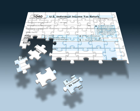 A U.S. Federal 1040 income tax form is seen as a jigsaw puzzle with pieces out of place in this image. This supports the theme of the annual task of piecing together financial information to complete tax filing. This is an illustration.