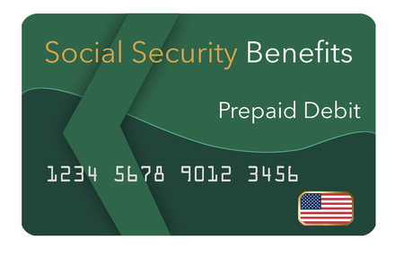 Federal  benefits for Social Security, SSI, VA  and more can be paid using a prepaid debit card. Here is a mock prepaid government debit card for a Social Security recipient. This is an illustration. Stock fotó