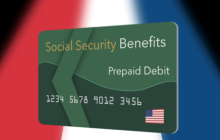Federal  benefits for Social Security, SSI, VA  and more can be paid using a prepaid debit card. Here is a mock prepaid government debit card for a Social Security recipient. This is an illustration. 写真素材