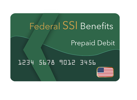 Federal  benefits for Social Security, SSI, VA  and more can be paid using a prepaid debit card. Here is a mock prepaid government debit card for a Supplemental Security Income recipient. This is an illustration.